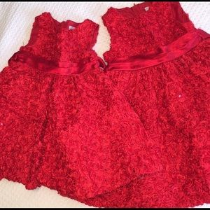 Red Rose Dress Lot, 4t and 2t
